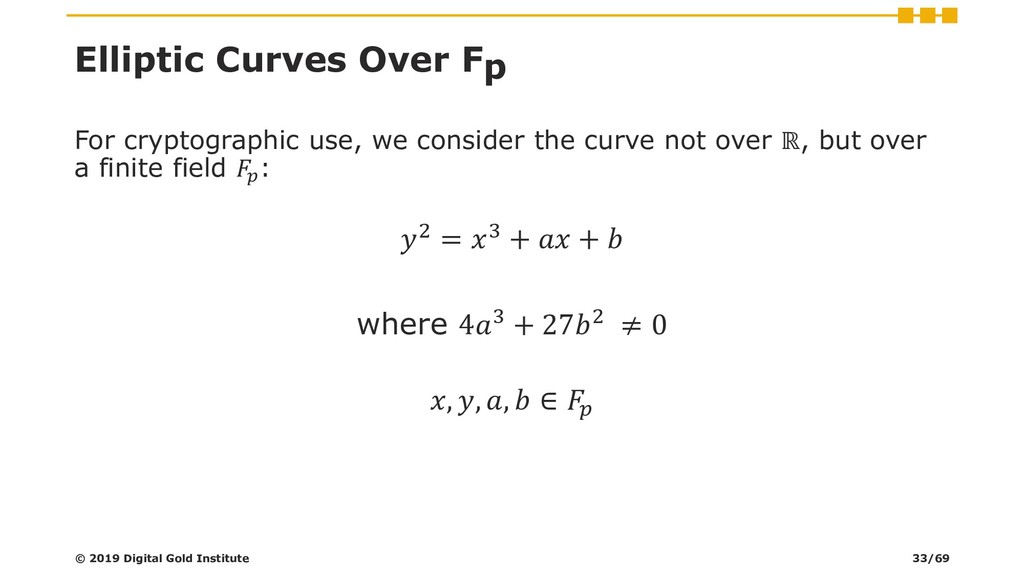Elliptic Curves Over Fp For cryptographic use, ...
