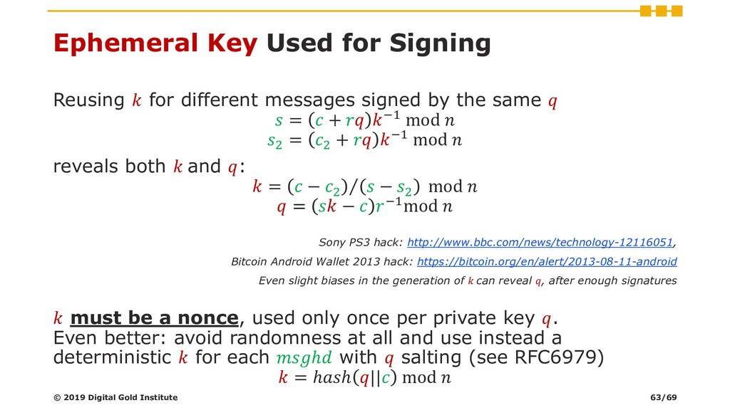 Ephemeral Key Used for Signing Reusing  for dif...