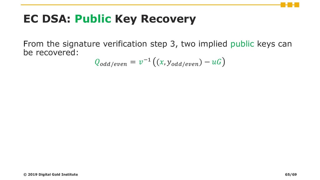 EC DSA: Public Key Recovery From the signature ...