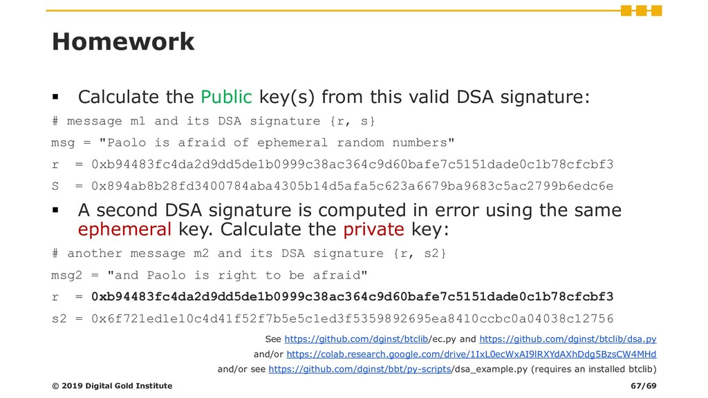 Homework ▪ Calculate the Public key(s) from thi...