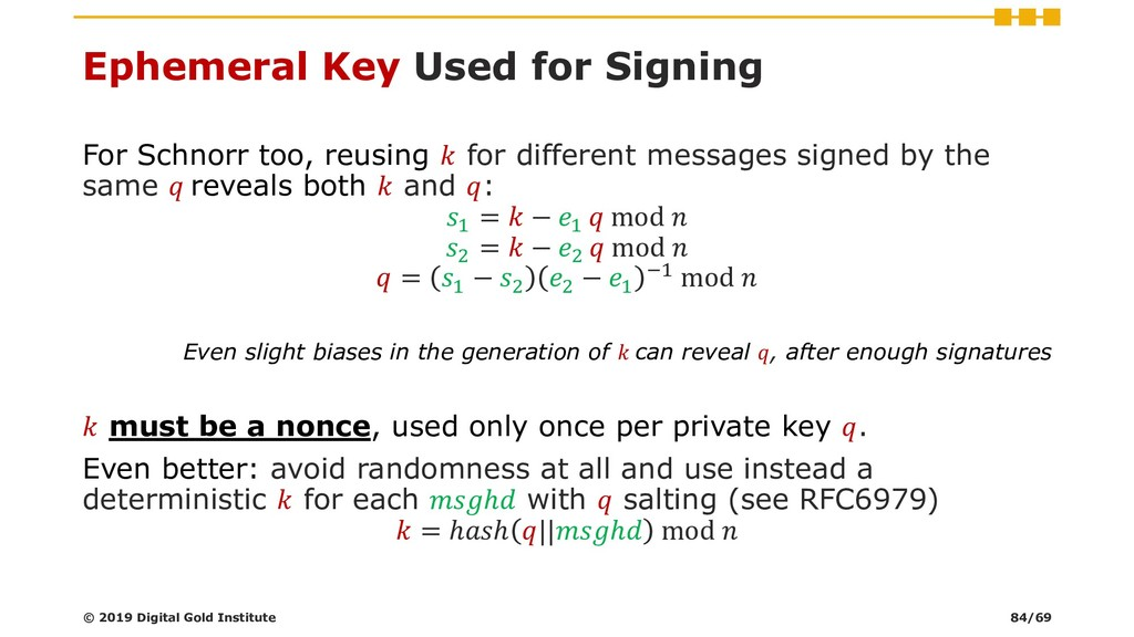 Ephemeral Key Used for Signing For Schnorr too,...