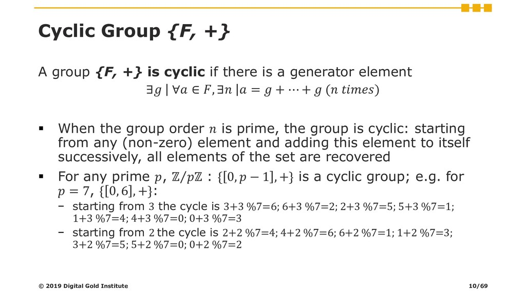 Cyclic Group {F, +} A group {F, +} is cyclic if...