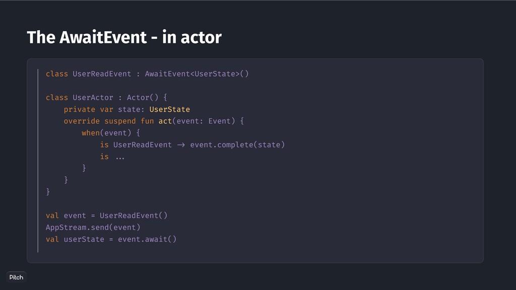 The AwaitEvent - in actor class UserReadEvent :...