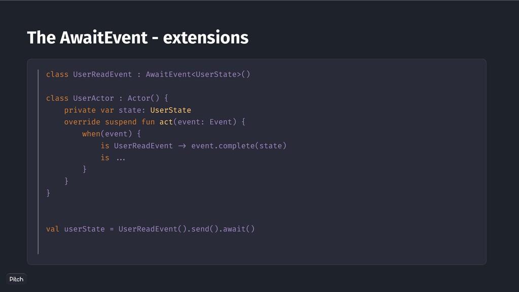 The AwaitEvent - extensions class UserReadEvent...