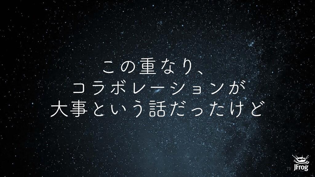 ͜ͷॏͳΓɺ ίϥϘϨʔγϣϯ͕ େͱ͍͏͚ͩͬͨͲ 71