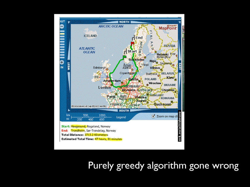 Purely greedy algorithm gone wrong