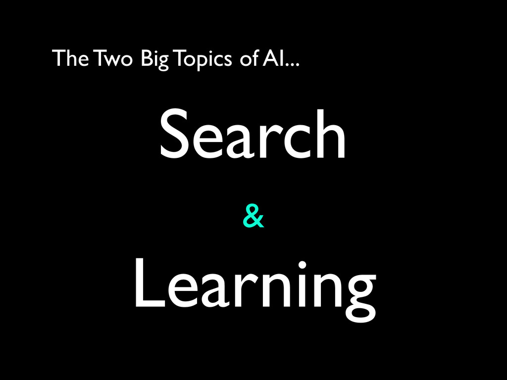 The Two Big Topics of AI... Search	 