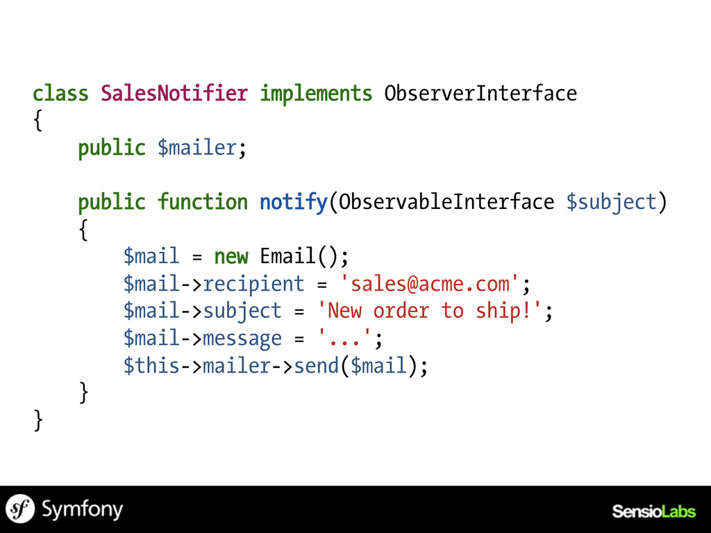 class SalesNotifier implements ObserverInterfac...