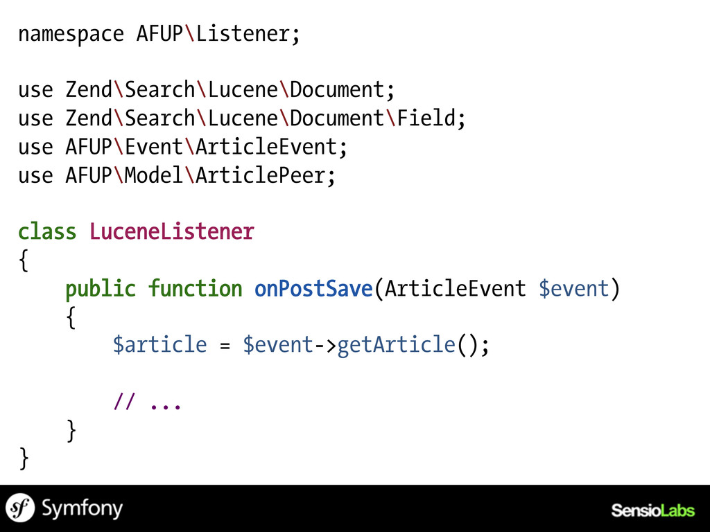 namespace AFUP\Listener; use Zend\Search\Lucene...