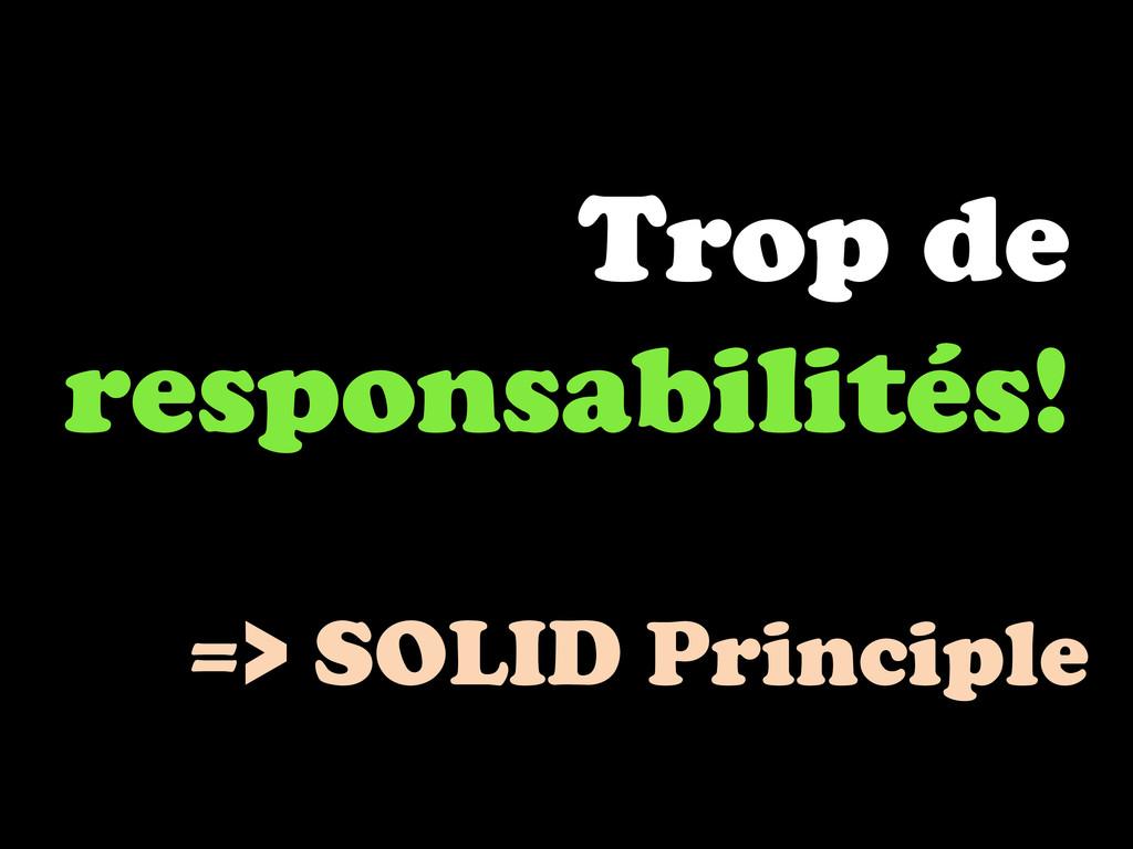 Trop de responsabilités! => SOLID Principle