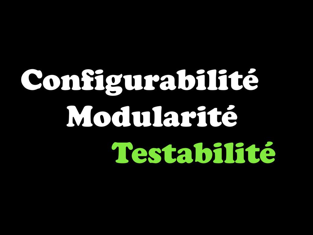Configurabilité Modularité Testabilité