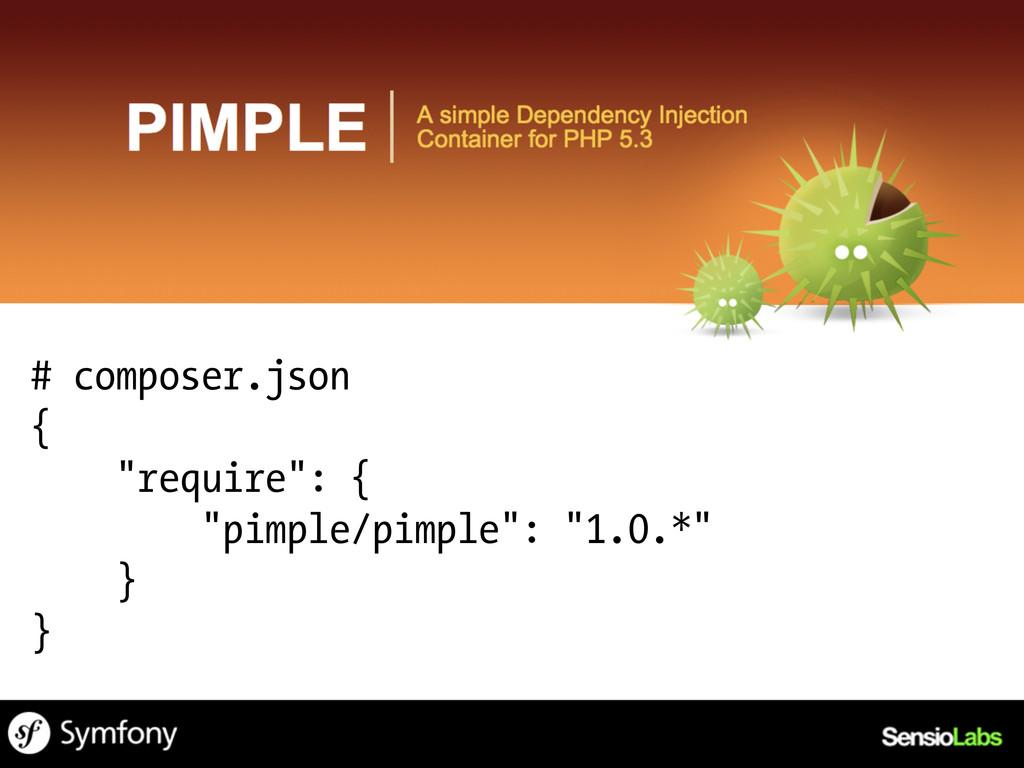 """# composer.json { """"require"""": { """"pimple/pimple"""":..."""