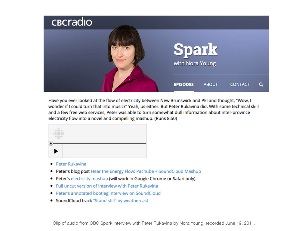Clip of audio from CBC Spark interview with Pet...
