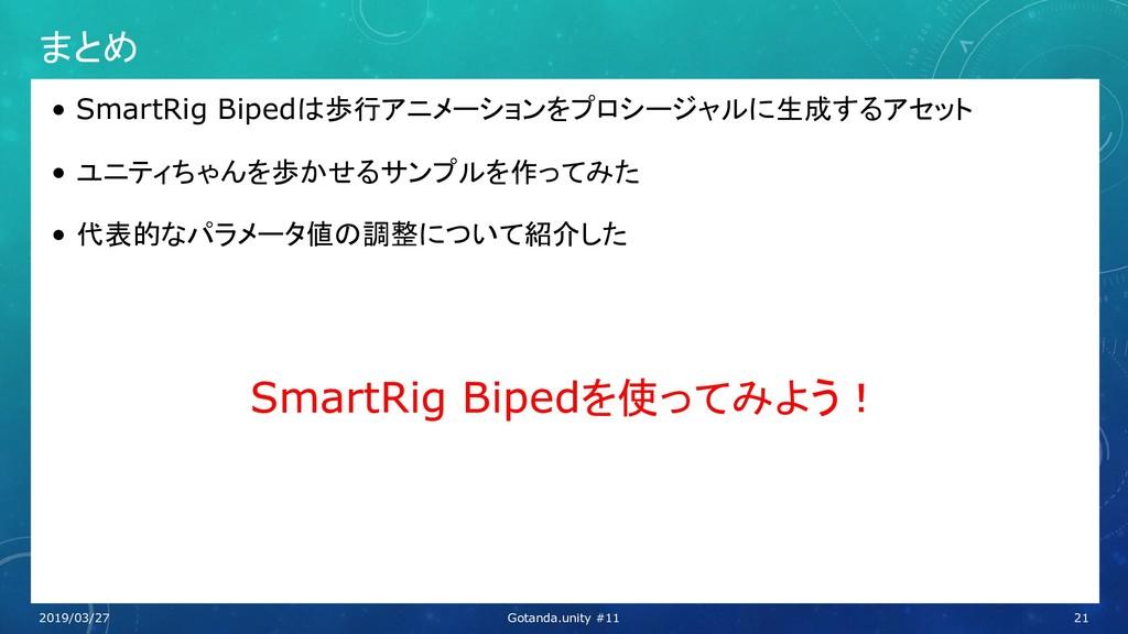 まとめ • SmartRig Bipedは歩行アニメーションをプロシージャルに生成するアセット...