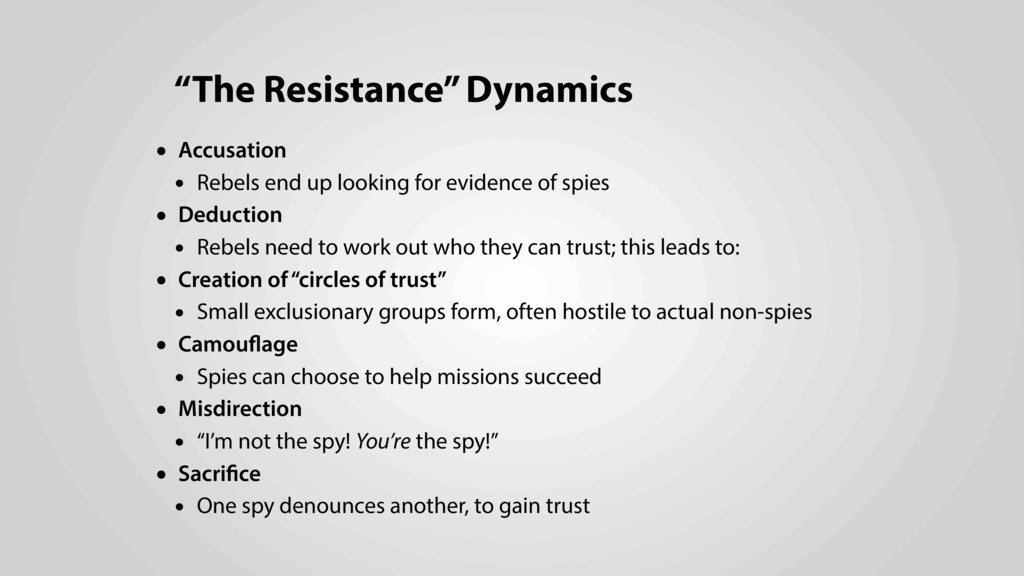 """The Resistance"" Dynamics • Accusation • Rebels..."