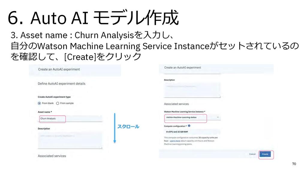 6. Auto AI モデル作成 70 3. Asset name : Churn Analy...