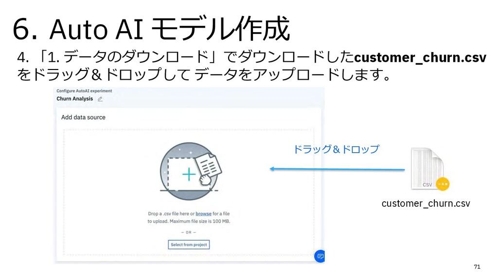 6. Auto AI モデル作成 71 4. 「1. データのダウンロード」でダウンロードした...