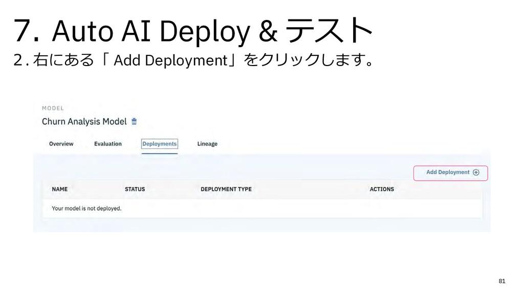 7. Auto AI Deploy & テスト 2. 右にある「 Add Deployment...