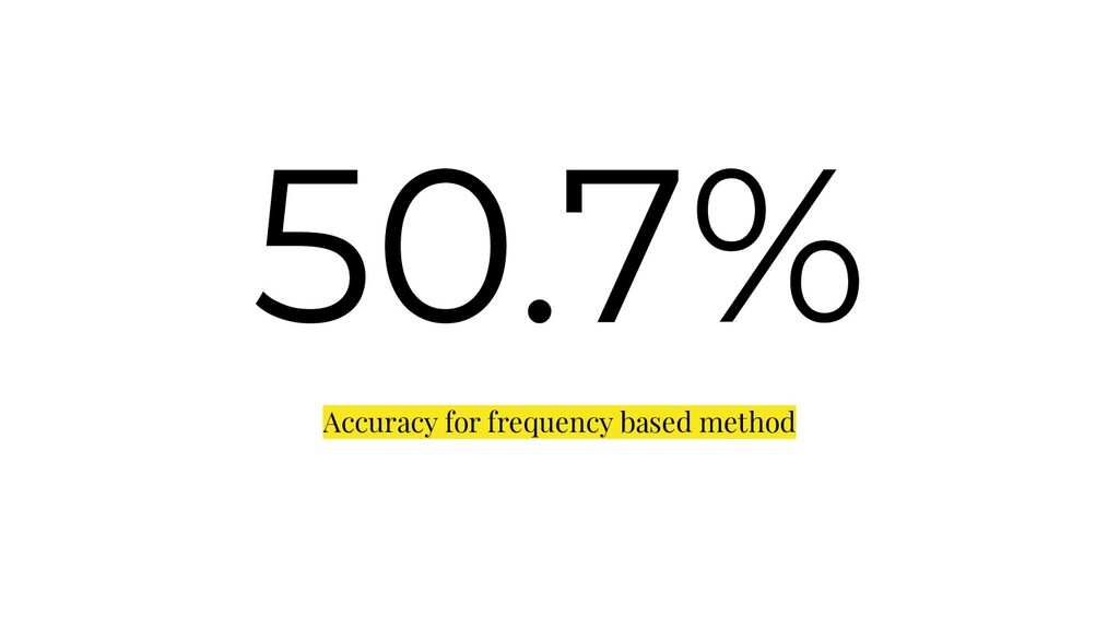 50.7% Accuracy for frequency based method