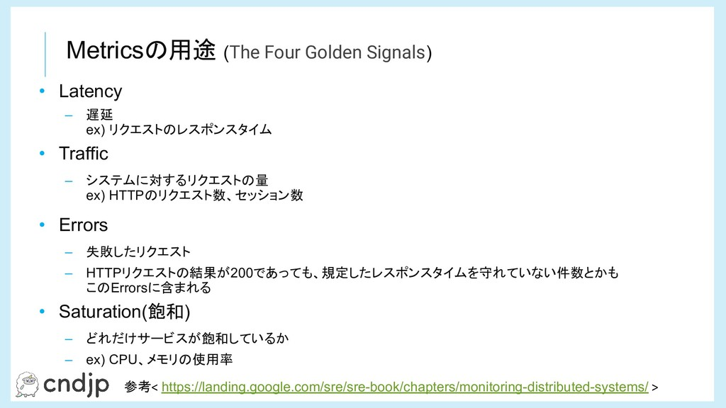 Metricsの用途 (The Four Golden Signals) 参考< https:...