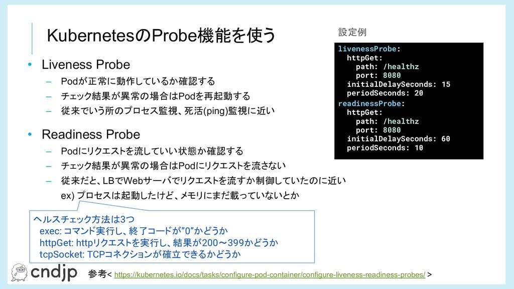KubernetesのProbe機能を使う 参考< https://kubernetes.io...