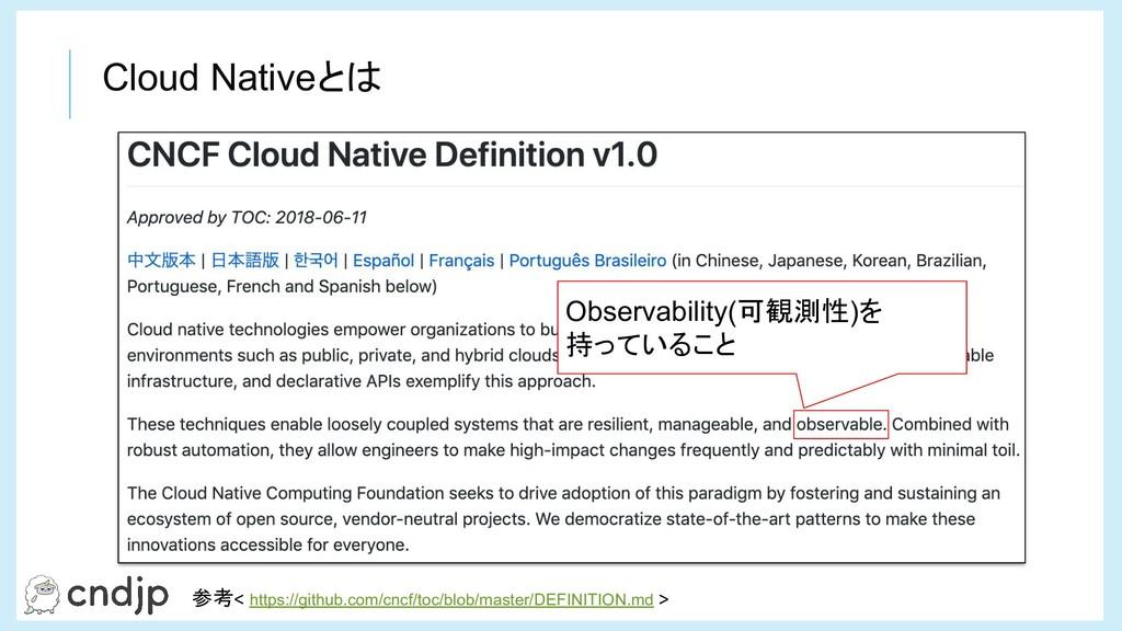 Cloud Nativeとは Observability(可観測性)を 持っていること 参考<...