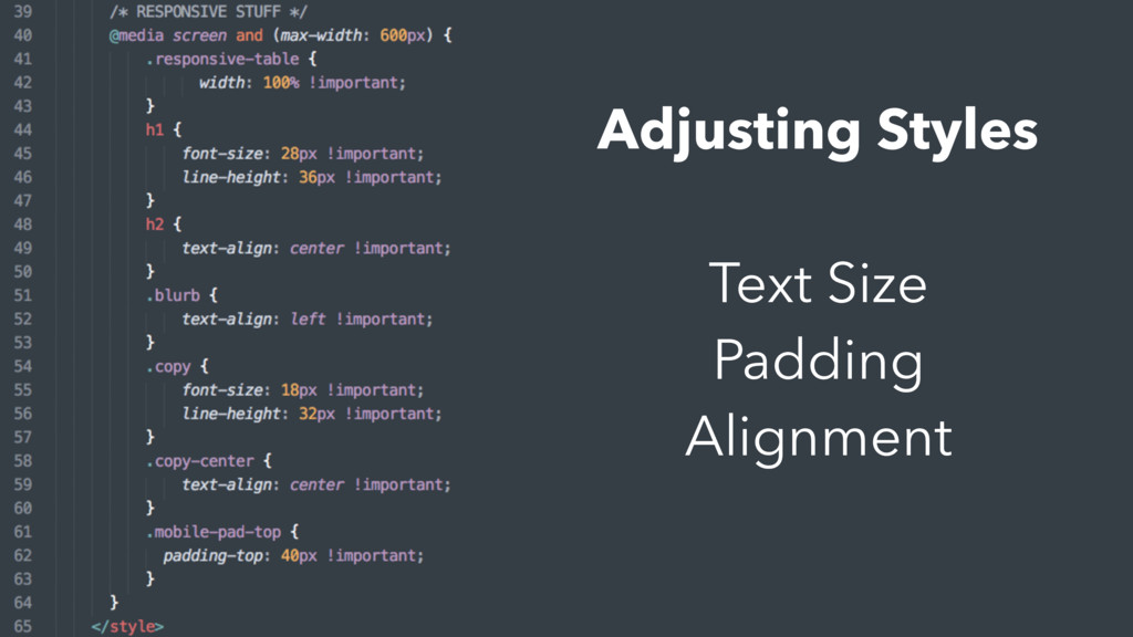 Adjusting Styles Text Size Padding Alignment