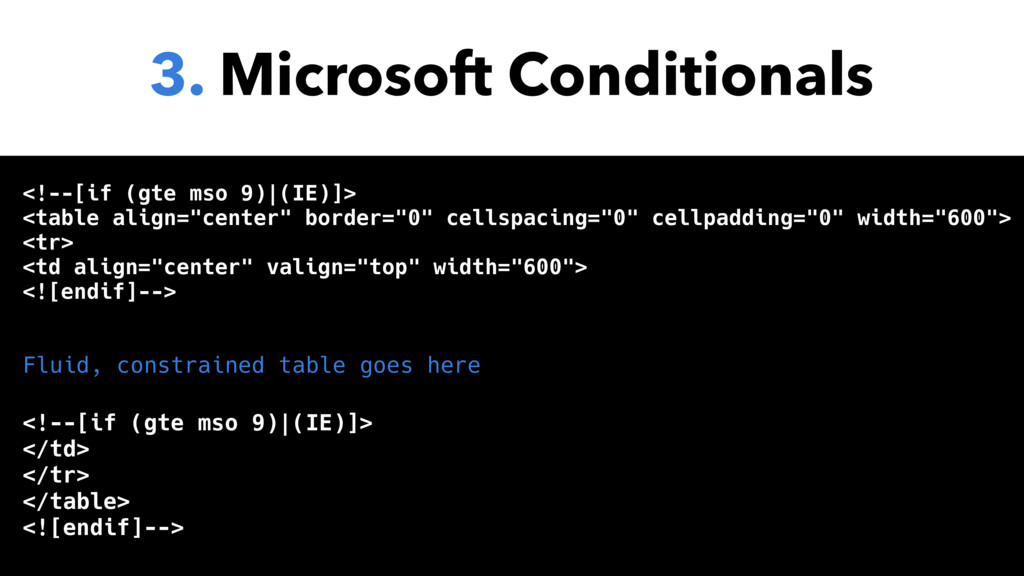 3. Microsoft Conditionals <!--[if (gte mso 9)|(...