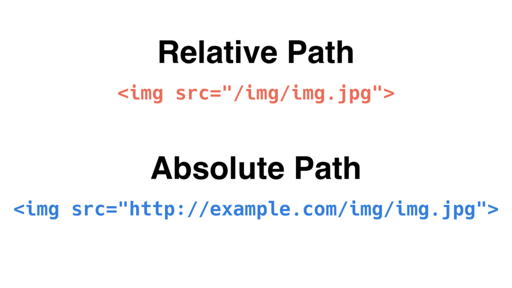 "Relative Path <img src=""/img/img.jpg""> Absolute..."