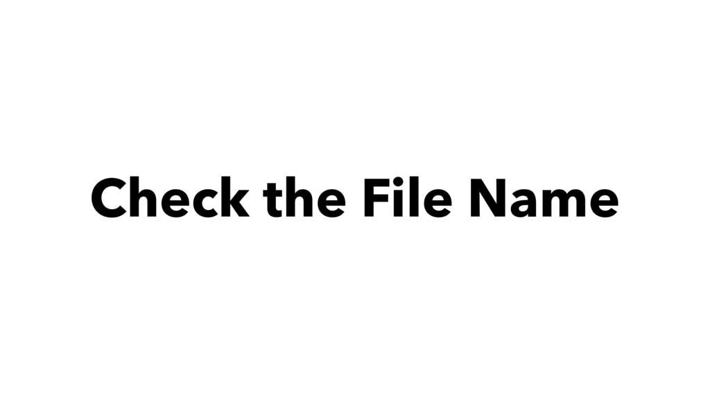 Check the File Name