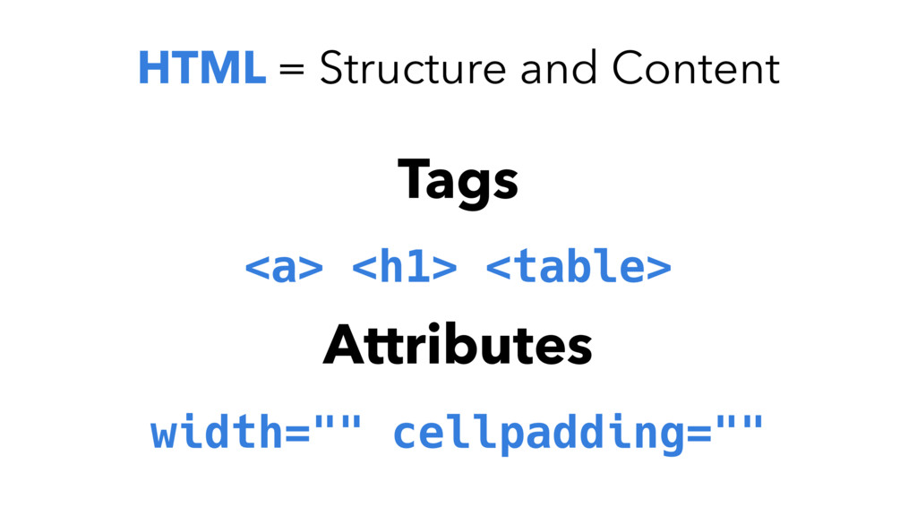 HTML = Structure and content Tags <a> <h1> <tab...