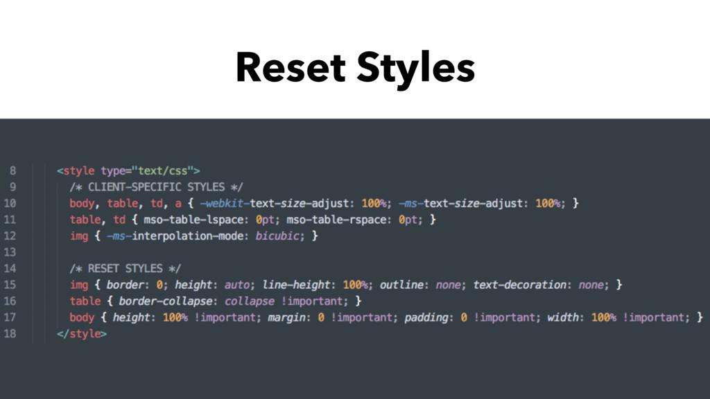 Reset Styles