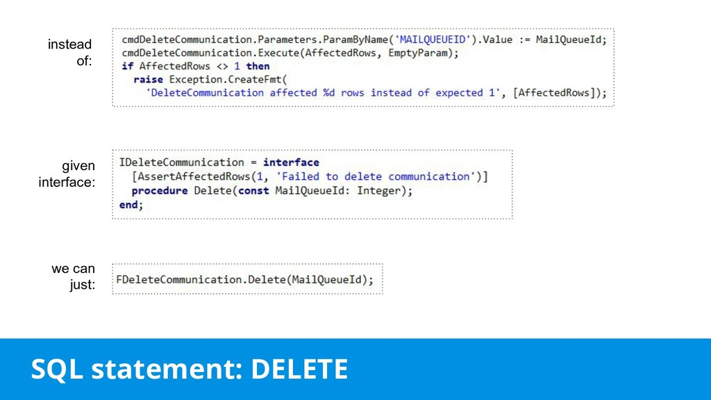SQL statement: DELETE instead of: given interfa...