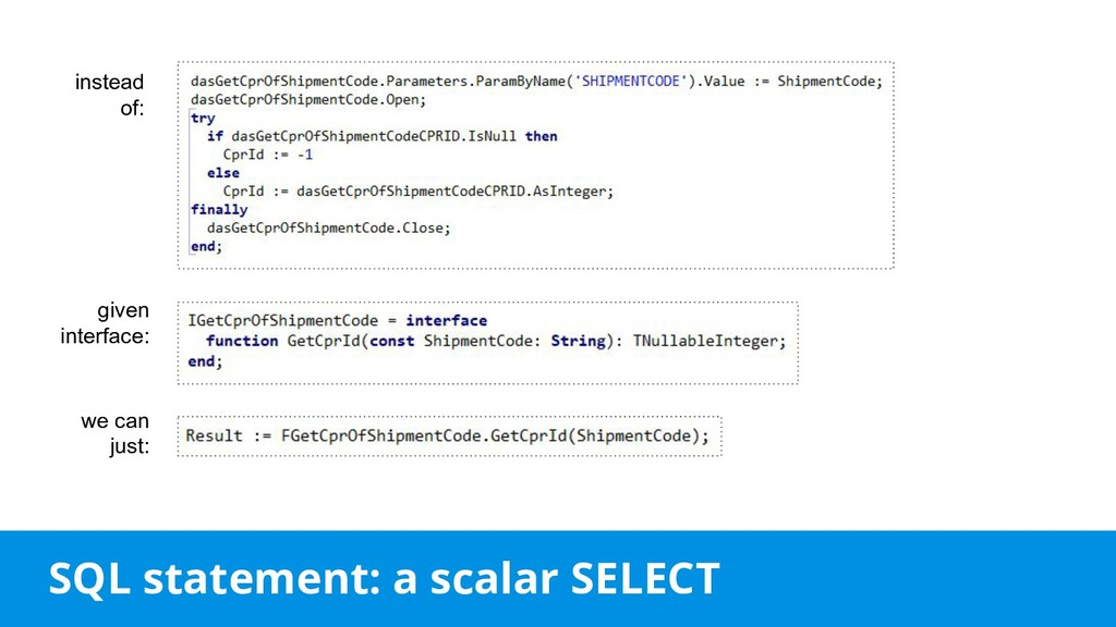 SQL statement: a scalar SELECT instead of: give...