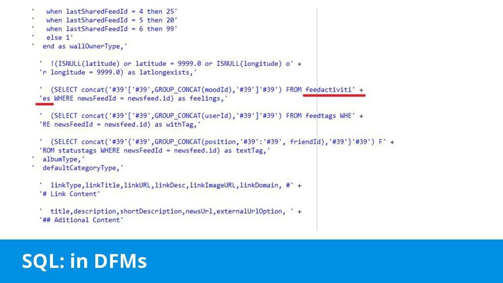 SQL: in DFMs