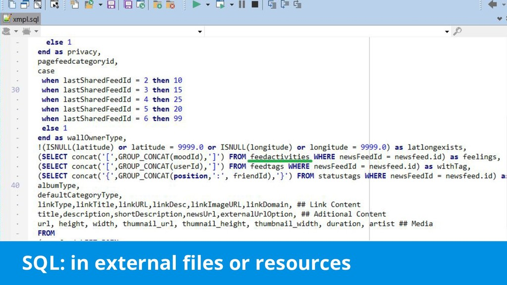 SQL: in external files or resources