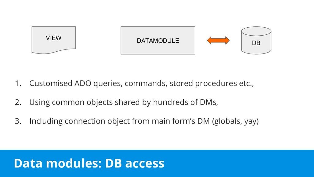 Data modules: DB access 1. Customised ADO queri...