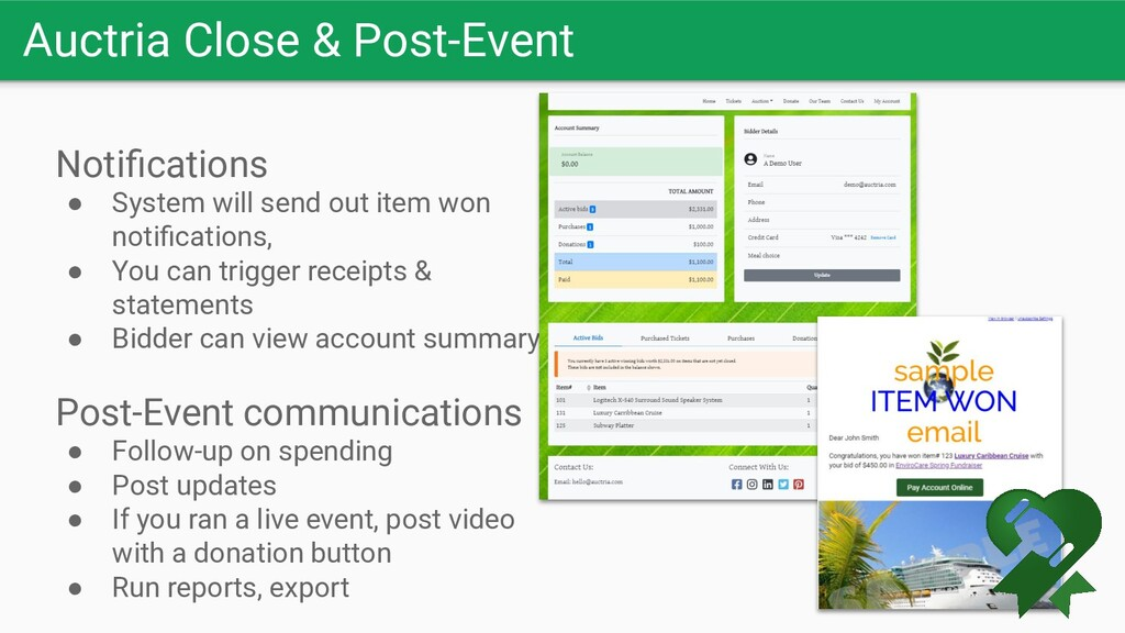 Auctria Close & Post-Event Notifications ● Syste...