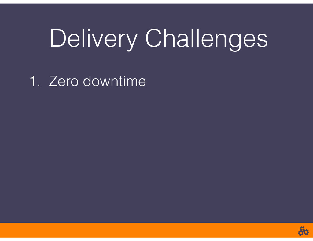 Delivery Challenges 1. Zero downtime