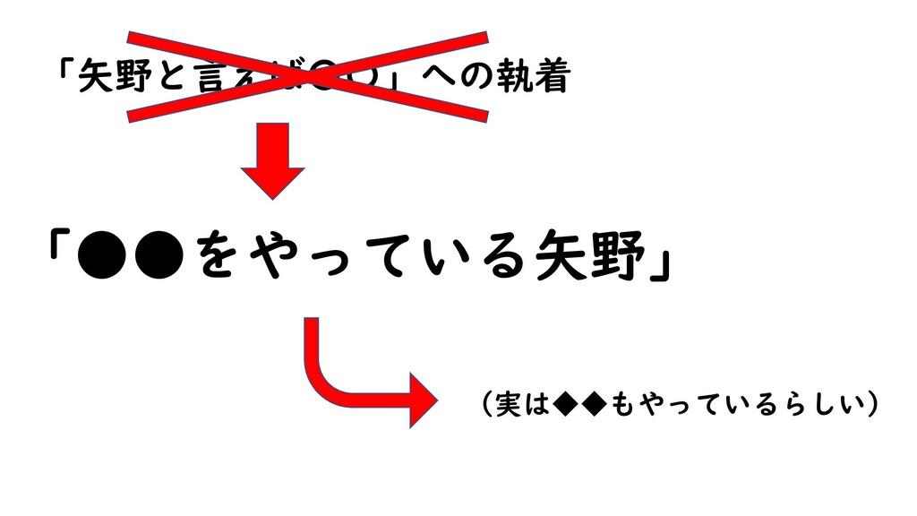 「矢野と言えば〇〇」への執着 「●●をやっている矢野」 (実は◆◆もやっているらしい)