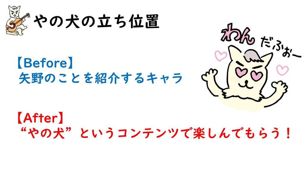"""やの犬の立ち位置 【Before】 矢野のことを紹介するキャラ 【After】 """"やの犬""""とい..."""