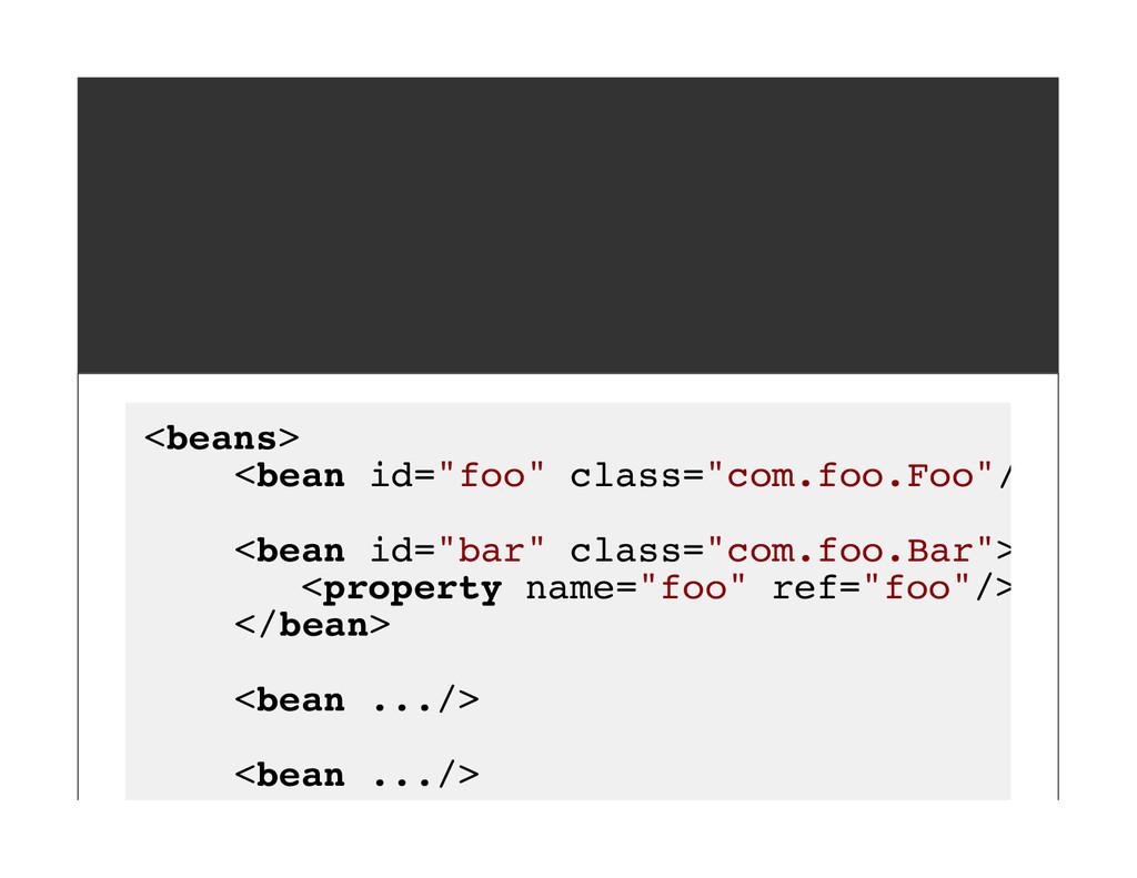 """<beans> <bean id=""""foo"""" class=""""com.foo.Foo""""/> <b..."""
