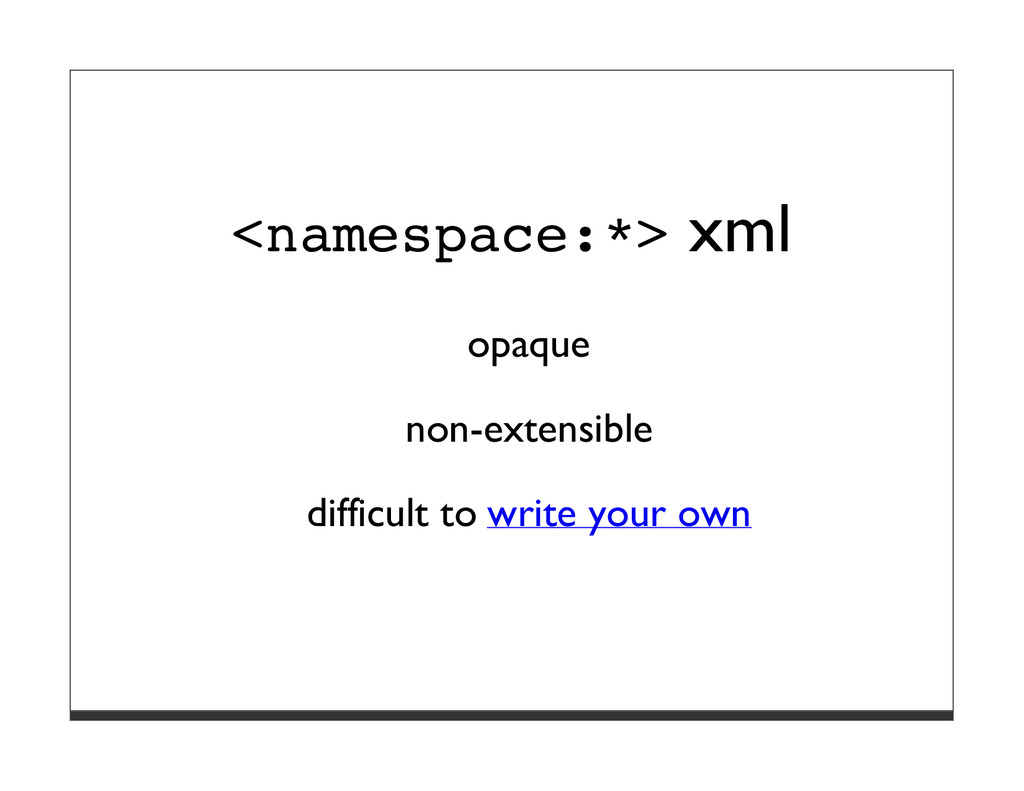 <namespace:*> xml opaque non-extensible difficu...
