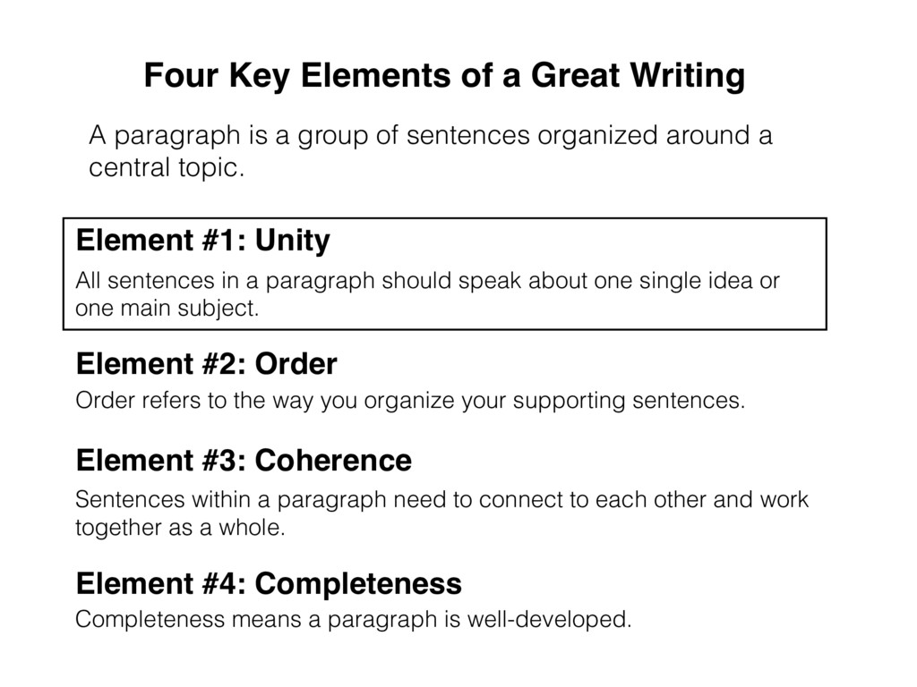 A paragraph is a group of sentences organized a...