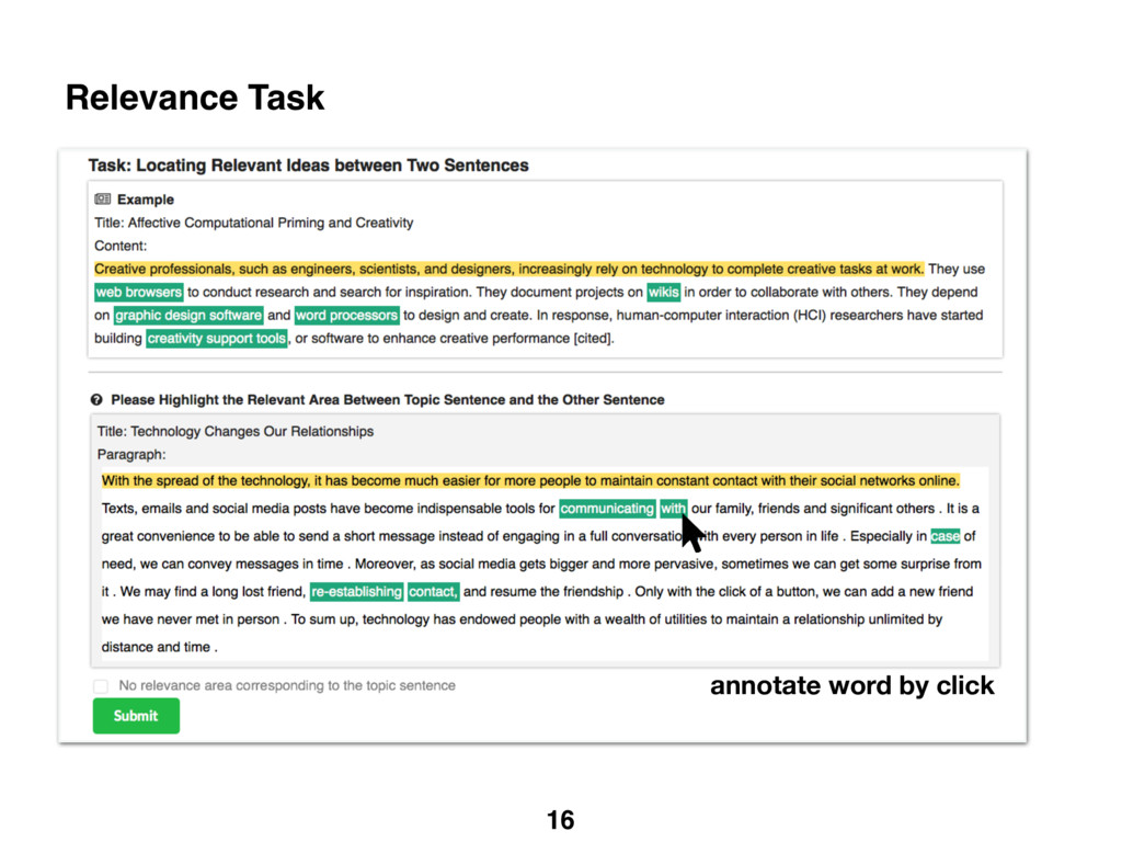 16 Relevance Task annotate word by click