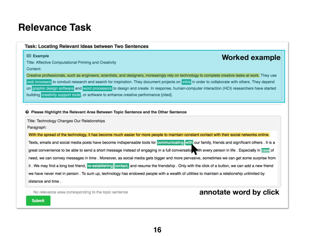 16 Relevance Task Worked example annotate word ...