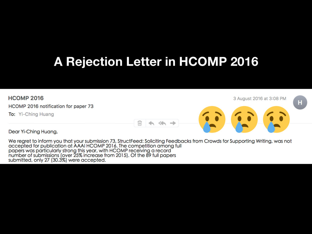 3 A Rejection Letter in HCOMP 2016