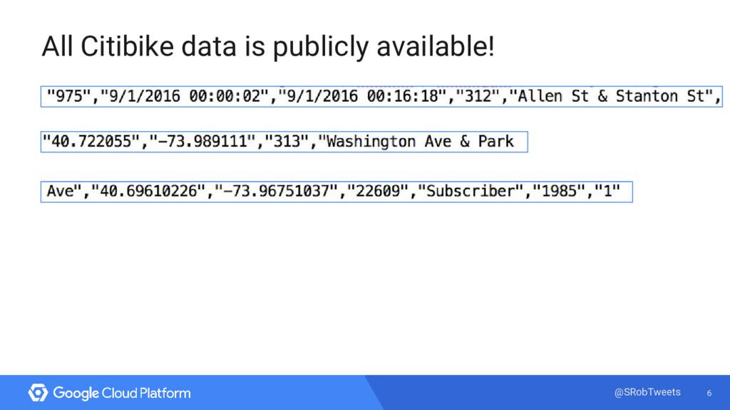 6 @SRobTweets All Citibike data is publicly ava...
