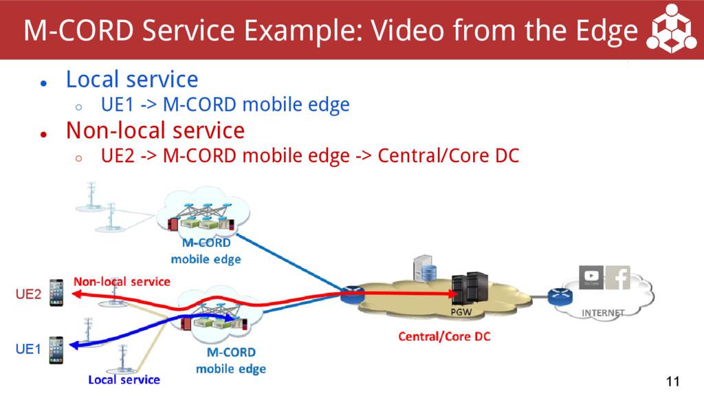 ● Local service ○ UE1 -> M-CORD mobile edge ● N...