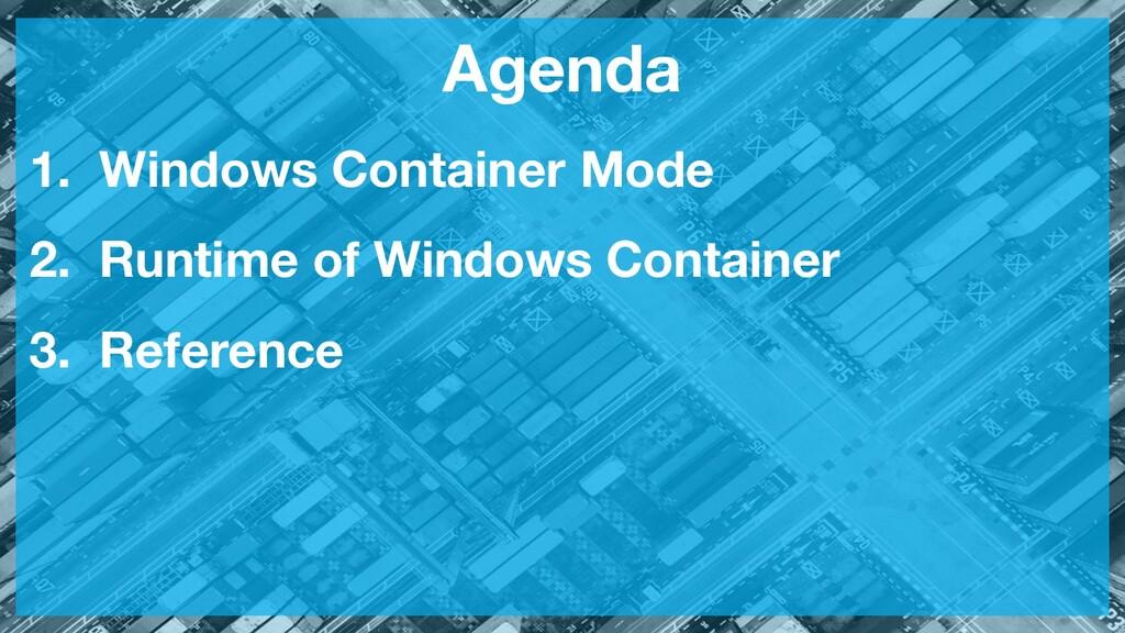 Agenda 1. Windows Container Mode 2. Runtime of ...